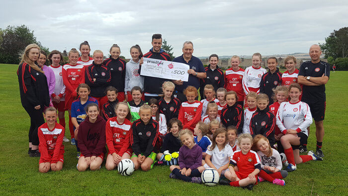 Proudfoot £500 MADL Donation To Scarborough Ladies FC