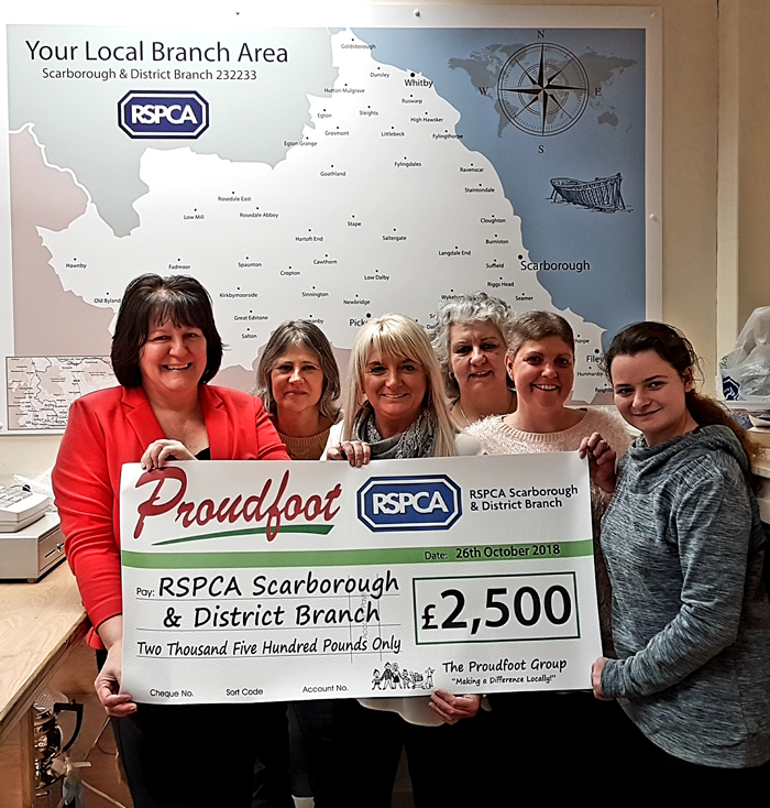 Proudfoot £2500 Donation To RSPCA Scarborough