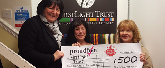 Proudfoot £500 Donation To Firstlight Trust
