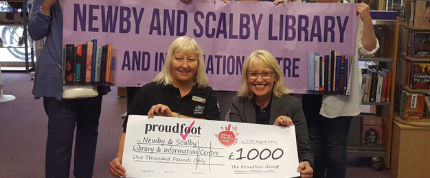 Proudfoot £1000 MADL Donation To Newby & Scalby Library