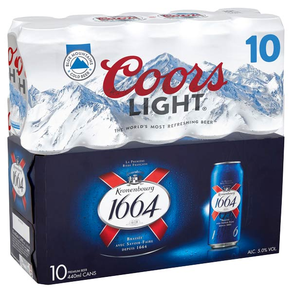 Coors Light / Kronenbourg 10pk x 440ml