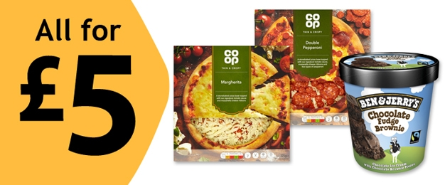 All for £5 - 2 Co-op Pizzas AND 1 Tub Of Ben & Jerry's Ice Cream