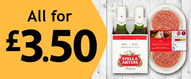 All for £3.50 - Stella 4pk AND Co-op Quarter Pounder Burgers 4pk